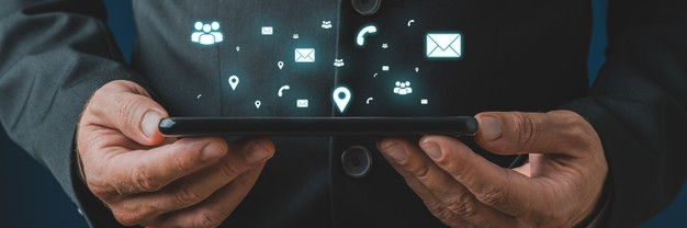 businessman holding digital tablet his hands with white glowing contact communication location icons coming out it conceptual image 254268 13541
