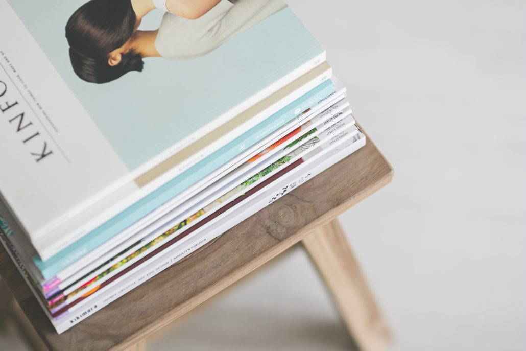 magazines wooden chair