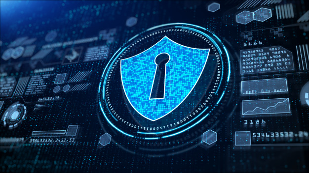 shield icon cyber security hi tech digital display holographic information digital cyberspace technology digital data connection future background concept 24070 10121