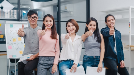 group asia young creative people smart casual wear smiling thumbs up creative office workplace 1
